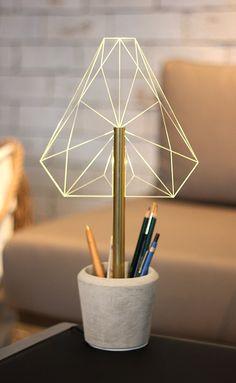 WIRED_*Ctype lamp - concrete pot, pen holder, night light, desk lamp, office lamp, office ware, modern tiffany lamp    Beautiful modern desk lamp,