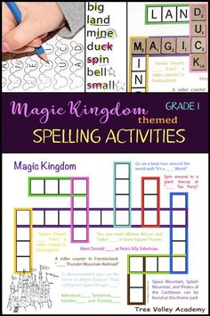 Grade 1 Magic Kingdom themed spelling activities. 4 pages of free printables including a kid-friendly crossword puzzle, a spelling game, a word study, and more. Make spelling fun with Disney themed word lists and activities. #disney #magickingdom #disneyworld #spelling