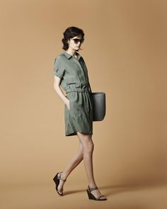 A flint green linen dress is just the thing for warm days.