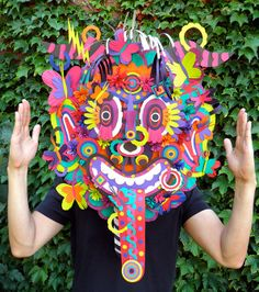 Michael Velliquette: Second Skin mask (via It's Nice That) Craft Activities For Toddlers, Paper Art, Paper Crafts, Cut Paper, Paper Structure, Skin Mask, Middle School Art, Art Lessons Elementary, Art Plastique