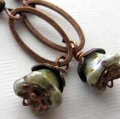 Misty Meadows- Antiqued copper and glass beaded earrings by South Wind Design