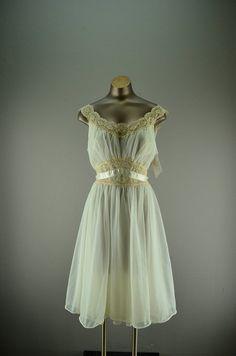 1950s ivory nightgown 50s chiffon nightie size by melsvanity, $42.00