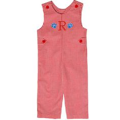 Our Rags Land Team Spirit Monogrammed Red Checks Longall! Shop NOW at www.ragsland.com