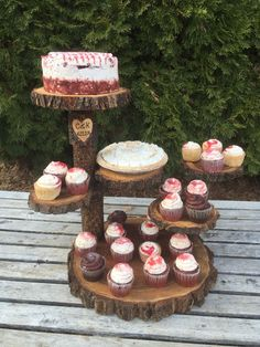 Unbranded Wooden Black Cake & Cupcake Stands for sale Wedding Cake Holders, Cupcake Stand Wedding, Cake And Cupcake Stand, Cupcake Display, Wedding Cakes With Cupcakes, Bridal Shower Table Decorations, Bridal Shower Tables, Wooden Cake Stands, Wood Cake