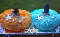 Beachy velvet pumpkins. Orange and Blue. Featured on CC: http://www.completely-coastal.com/2014/09/Coastal-autumn-decorations.html