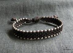 Dark Brown Waxed Cord Bracelet Hill Tribe Fine by Cord Bracelets, Bracelets For Men, Horns, Dark Brown, Wax, Brass, Gemstones, Sterling Silver, Trending Outfits
