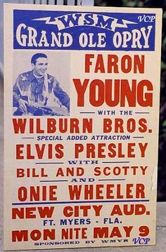 Vintage Concert Posters - Elvis Presley concert poster for the Grand Ole Opry - 1955