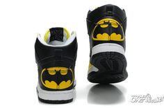 Batman Nike DC The Dark Knight Black Yellow : Cool High Tops Nikes Dunks Adidas Converse Cartoon Shoes, Cheap For Sale Cool High Tops, Nike High Tops, Nike Outfits, Batman Outfits, Batman Shoes, Cute Shoes, Me Too Shoes, Boy Shoes, Style Fitness