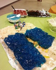 Snack ideas for Old Testament Stories. They have plague ones which are gross, but so funny! I really love the Baby Moses and the Walls of Jericho cake.