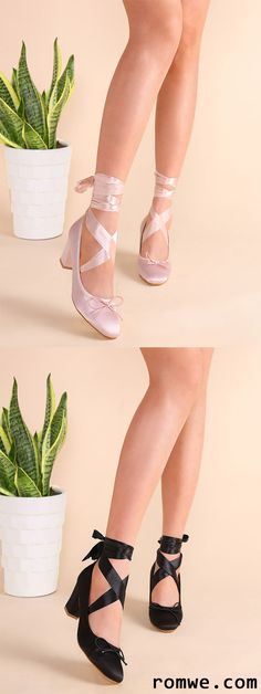 Tie Back Strappy Bow Satin Heeled Pumps