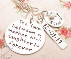 Mommy Necklace, Hand Stamped Necklace, Mother Daughter Jewelry,