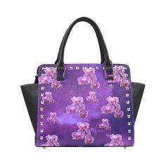 Purple Orchids Rivet Shoulder Handbag. FREE Shipping. #artsadd #bags #flowers