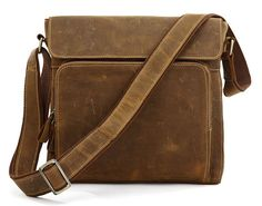 Upright Handcrafted Leather Briefcase / Messenger / Laptop / Men's Bag in Retro brown