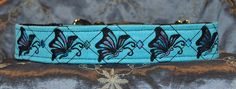 "Pet Necklace ""Soar Like a Butterfly"" Design Dog Collar in bright aqua with black and peacock thread."
