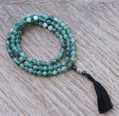 Green Jade Mala Necklace  Buddhist Mala  Healing by BBTresors