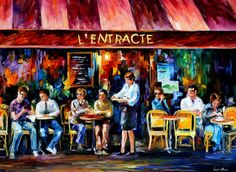 """Cafe In Paris — PALETTE KNIFE Contemporary Oil Painting On Canvas By Leonid Afremov - Size: 48"""" x 36"""" inch (120 cm x 90 cm)"""