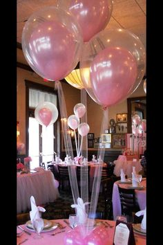 DIY Baby Shower Ideas For Girls: pink balloons inside clear ballons
