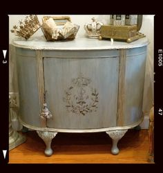 Painted Antique Demilune Cabinet | Painted Furniture | Pinterest
