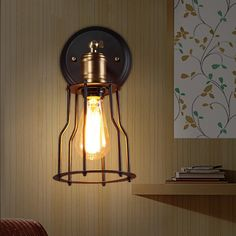 Industrial Loft Matte Black Single Vintage Edison Light Bulb Wall Sconce with Open Cage - Wall Lights - Lighting