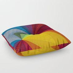Rainbow colors - Geometric design Floor Pillow by uteb Designer Pillow, Pillow Design, Floor Pillows, Throw Pillows, Pillow Shams, Tack, Rainbow Colors, Bean Bag Chair
