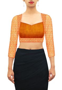 Two body sweetheart blouse in orange brocade and silk