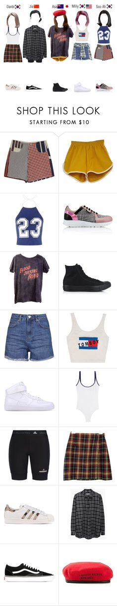 """""""Predebut: Dance Cover"""" by ingenueotaku ❤ liked on Polyvore featuring Karl Lagerfeld, ATG, Converse, Topshop, NIKE, Swim With Mi, adidas, adidas Originals, 6397 and Vans"""