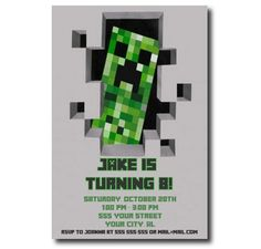 Minecraft Birthday Party Invitation, Printable Invitations