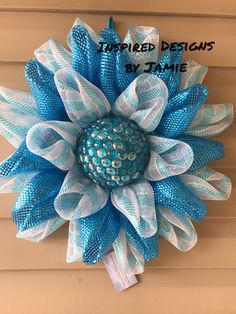 Beautiful Spring Wreath made of deco mesh