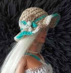 Handmade by Ann - gratis patroontjes Barbie Knitting Patterns, Crochet Patterns, Accessoires Barbie, Knit Crochet, Crochet Hats, Pretty In Pink, Cowboy Hats, Diy And Crafts, Turquoise