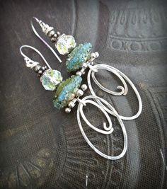 SRA Lampwork Glass, Mystic Glass, Organic, Rustic, Earthy, Sterling Silver Hoops, Hoop, Beaded Earrings by YuccaBloom on Etsy