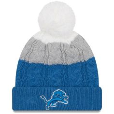 a0af7c42275 Detroit Lions New Era Women s Layered Up 2 Cuffed Knit Hat with Pom -  White Blue