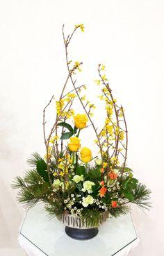 Modern Floral Arrangements, Flower Arrangements, Forever Flowers, Church Flowers, Cascade Bouquet, Floral Design, Art Floral, Chinese New Year, Diy And Crafts