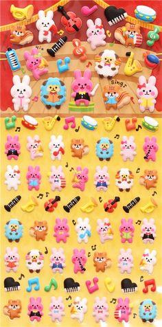 concert music instrument animal sponge stickers