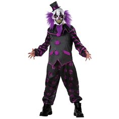 The psycho ward is missing one of it's patients. This purple lunatic bearded clown is has a killer clown mask and regal purple and black vest costume. Super creepy and ready for the loony ward! Featur