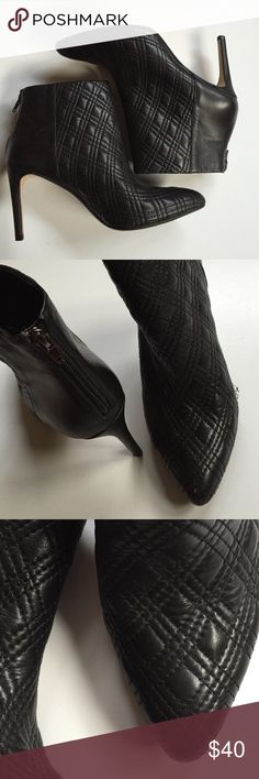 """EUC Banana Republic leather booties Excellent condition; The most gorgeous quilted black leather, zip-back booties ever!!! 3 1/2"""" heel. Bottom of heel to top of boot is 7 1/2"""". These are spectacular! Smoke-free/pet-free home. Banana Republic Shoes Ankle Boots & Booties"""