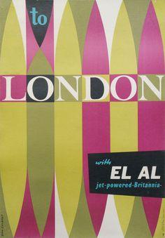 London - EL AL Airlines Britannia original travel poster c.1957