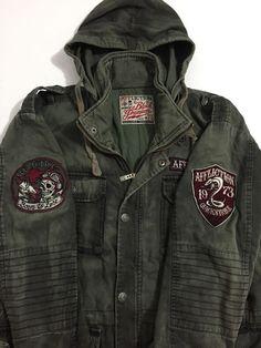 e780a69ef05 Affliction Black Premium Green Military Jacket Coat Size Large Hooded   Affliction  Military Ebay Listing