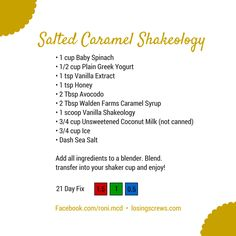 This time up we have Salted Caramel Shakeology. It's GOOD. Download the graphic to your phone or computer: Salted Caramel Shakeology. For those of you not on the fix right now, this clocks in at ar...