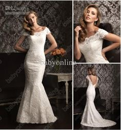 2013 New Sexy Strapless Mermaid Wedding Dresses Sweetheart Lace Cap Sleeves Beach Dresses