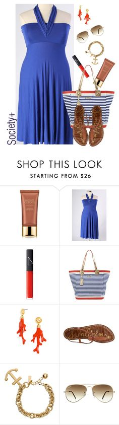 """""""Plus Size Blue Multiway Dress - Society+"""" by iamsocietyplus on Polyvore featuring Estée Lauder, NARS Cosmetics, Lilly Pulitzer, BaubleBar, Sam Edelman, Kate Spade, Ray-Ban, plussize, plussizefashion and societyplus"""