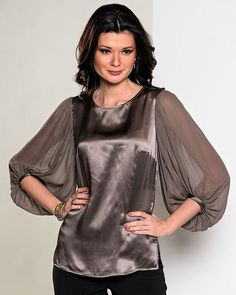 Sleeves design is an important aspect of any clothing's item-such as blouse, top, or dresses we create. Over 50 Womens Fashion, Fashion Over 50, Fashion Details, Fashion Design, Satin Blouses, Sleeve Designs, Lace Tops, Clothing Items, Silk Top