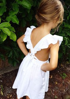 Girls Handmade Linen & Cotton Ruffle Pinafore Dress | illflyawayco on Etsy #flowergirl