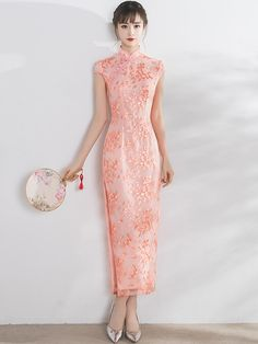 Romance Pink Embroidered Qipao / Cheongsam Maxi Dress