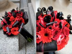 red roses, tulips, black and red gerberas, black aspidistra and black fiddlhead fern curls
