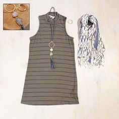 Sunday Grant Park Festival Military Olive Stripe Sleeveless Dress by Splendid $128 Gray Druzy & Leather Tassel Necklace by Isobel $178 Fashion Earrings $5 Fall Scarf by Rockpaperflower $36