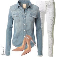 Untitled #2450 by breannamules on Polyvore featuring polyvore, fashion, style, Hudson and Christian Louboutin