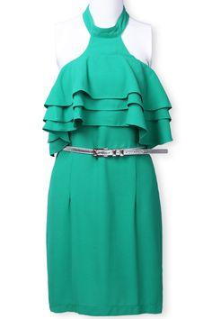 Green Halter Cascading Ruffle Belt Chiffon Dress - Sheinside.com