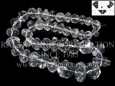 Crystal Quartz Faceted Roundel (Quality AA) Shape: Roundel Faceted Length: 36 cm Weight Approx: 74 to 82 Grms. Size Approx: 8.50 to 18.50 mm Price $41.00 Each Strand