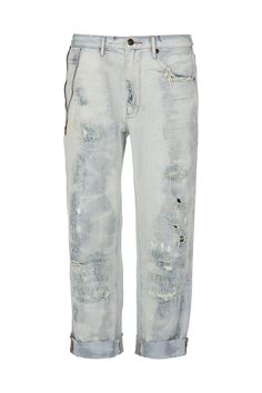 LOVE THY BROTHER - slouchy loose fit boyfriend jean in a heavily distressed washed denim & worn detailing. features zip in one pocket. model is wearing size 26 however sizing runs big.