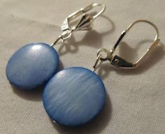 Earrings  Blue MOP Handmade with LeverBack Hooks I by CraftyChic90, $3.00